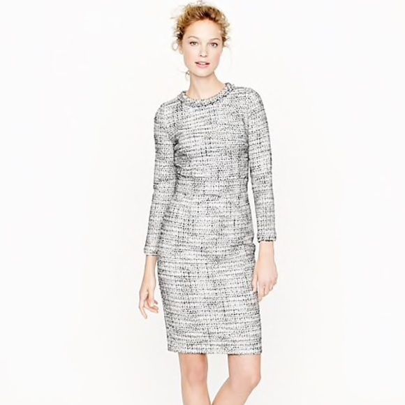cae037a1d0 J. Crew Dresses | J Crew Black White Long Sleeve Tweed Dress Sz 0 ...
